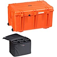 Explorer Cases 7641KTOQ 7641 Case with Custom Removable Padded Divider Bag for Cameras or Similar Electronic Gear and Organizer Lid Panel (Orange)