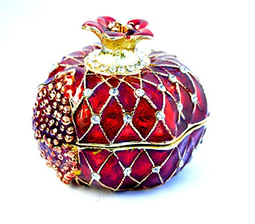 Israel Medium Pomegranate Jewelled & Enameled Crystal.trinket Box / Jewelry Box Holy Land