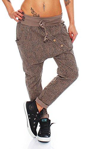 Mujer Pantalones Harén Pantalones Pantalón de chándal Pantalones de fitness puntos AM 281 marrón
