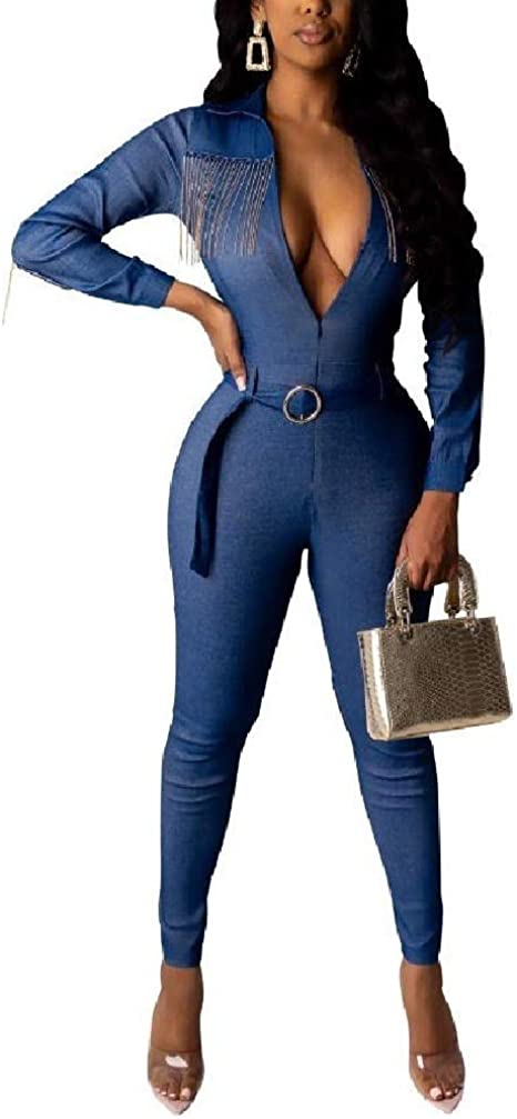 EnergyWD Womens Jeans Sexy Denim Overall Low Cut Deep V-neck Fringed Jumpsuits