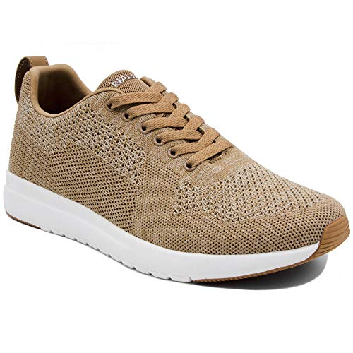 - Nautica Men's Knit Casual Lace-Up Fashion Sneakers Oxford Comfortable Walking Shoe-Paylon-Tan-9.5