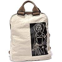 MiCoolker Canvas Printed Satchel Convertible Tote Crossbodybag Women Vintage Shoulder Handbag Unisex Laptop Travel Backpack Beige