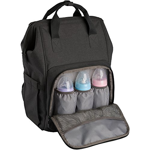 Ferlin Wide Open Design Baby Diaper Bag Backpack with Changing Pad & Insulated Pockets for Both Mom & Dad (Blackgrey-0911)