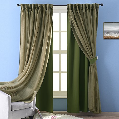 NICETOWN Double-Layer Bedroom Window Treatment Sage Crushed