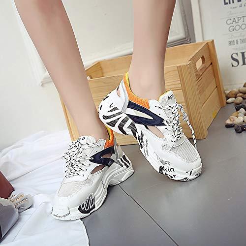 Caminar Round Toe Zapatos de de Creepers Black Verano ZHZNVX Primavera Poliuretano PU Black Zapatos para Zapatillas Orange Mujer y de Deporte Zwq786qTax