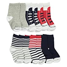 """Luvable Friends Baby Boys' """"Striped & Laced"""" 6-Pack Crew Socks"""