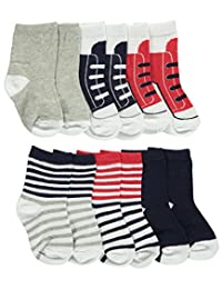 "Luvable Friends Baby Boys' ""Striped & Laced"" 6-Pack Crew Socks"