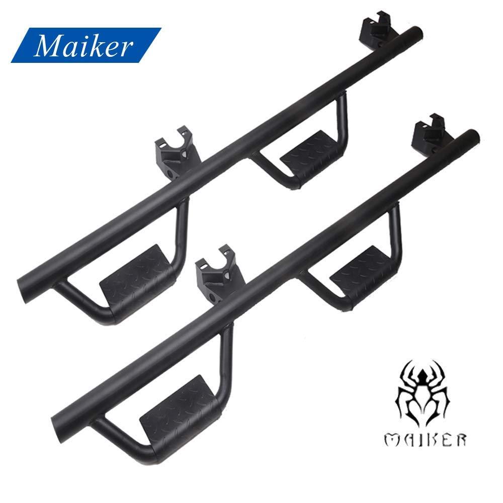 Textured Black Maiker Side Steps Kit for 2007-2017 Jeep Wrangler JK 4-Door Hoop Drop Side Running Boards//Bar