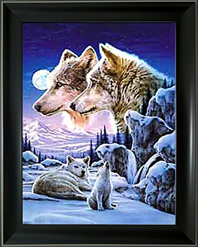 Lee's Collection 3D Holographic Animated Picture with Black 14.5 inches x 18.5 inches Wolf Pack in Snow 3DAnimated Picture & Black Frame ()