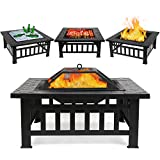 FIXKIT Fire Pit Table Outdoor with BBQ Grill Shelf, Multifunctional Garden Terrace Fire Bowl...