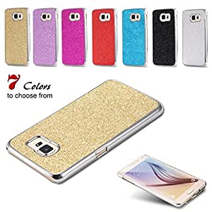S6 Luxury Glitter Bling Shine Plating Plastic Case For Samsung Galaxy S6 G9200 G920F G920I G920A Ultra Thin Hard Back Cover --- Color:Hot Pink