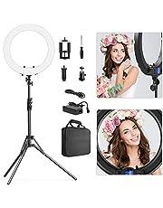 Switti Ringlicht Set - 19 Zoll,3000-5800K,dimmbares LED-Ring Licht mit LCD Bildschirm,Lichtständer,drehbarer Telefonhalter,Blitzschuhadapter,tragbare Tasche für YouTube Portrait Make-up Video