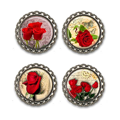 Roses Bottle Cap Magnets