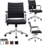 2xhome - Black- Modern Mid Back Ribbed PU Leather Swivel Tilt Adjustable Chair Designer Boss Executive Management Manager Office Chair Conference Room Work Task Computer