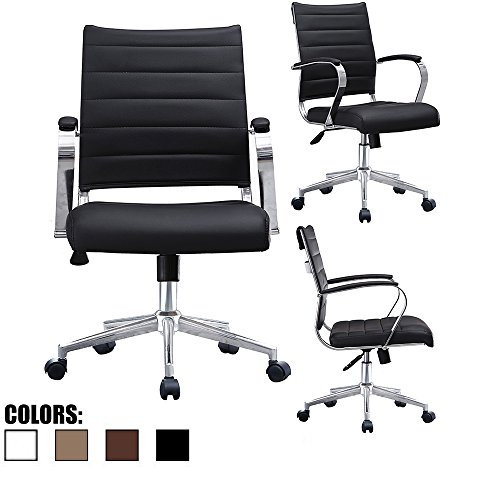 2xhome - Black- Modern Mid Back Ribbed PU Leather Swivel Tilt Adjustable Chair Designer Boss Executive Management Manager Office Chair Conference Room Work Task Computer by 2xhome