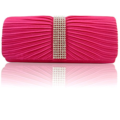 Women Designer Ladies Rose Pleated Bridal Bags Party Prom Satin Handbags Zarla Diamante Shoulder Clutch wqXnFx5a5H