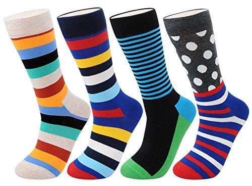 FULIER Men Fashion Colourful Stripe Dot Grid Pattern Soft Crew Cotton Socks 4 Pairs,Cotton Rich (Fashion (80s Fancy Dress Plus Size)