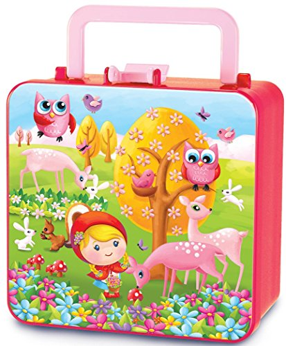 The Piggy Story 'Little Rosy Red' Double Decker Handled Bento Lunch Box for Kids (Little Red Riding Hood Cool School)