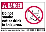 Brady 86899, Equipment/Oem Labels, 3 1/2'' Height x 5'' Width, Black/Red on White, Legend''Do Not Smoke Eat Or Drink In This Area.'' (5 per Package)