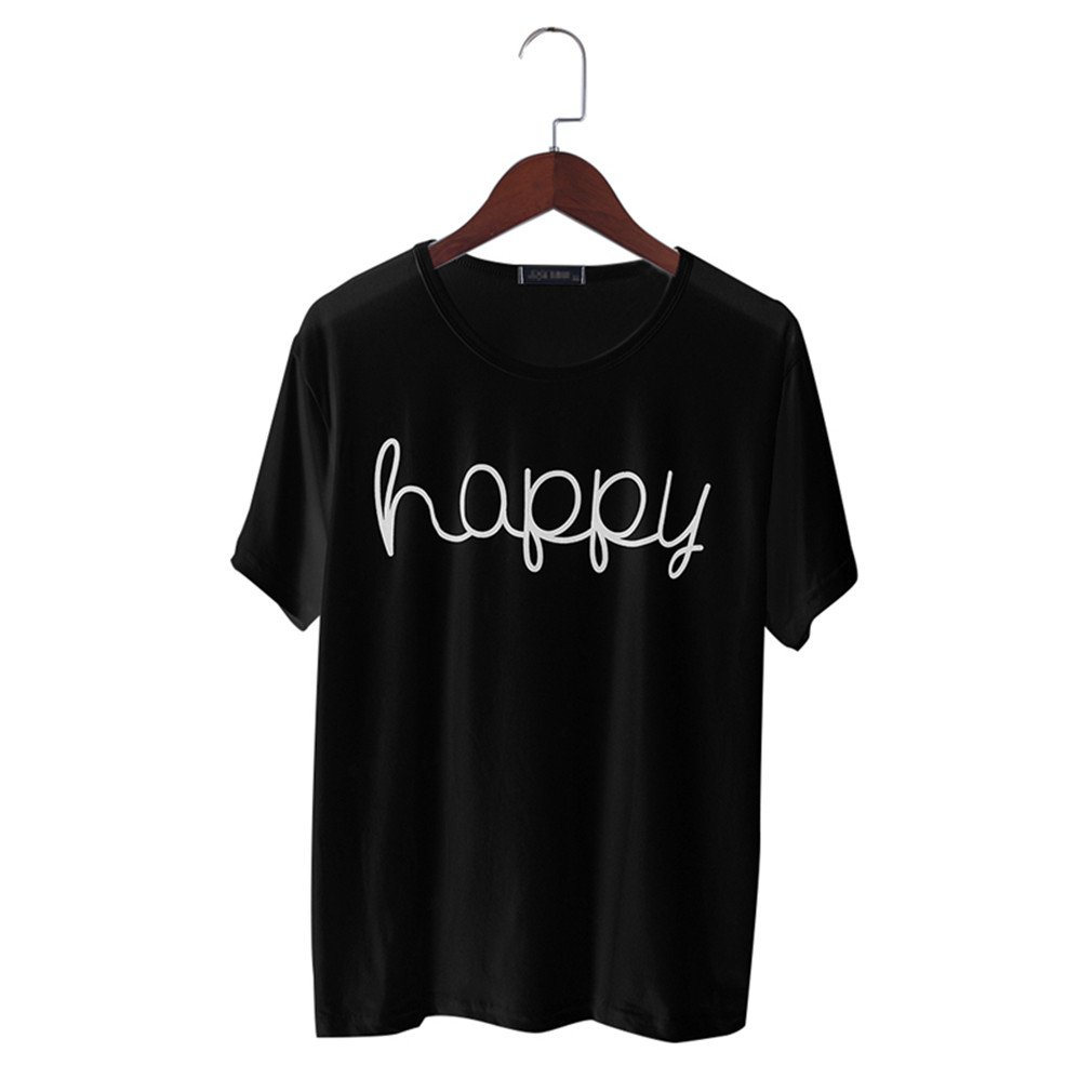 1a68653864a Amazon.com  Fashion T-Shirt Women Summer Happy Letter Print Tops Casual  Clothing  Clothing