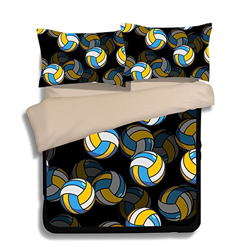 Fantastic Volleyball 3D Microfiber 3pc 90''x90'' Bedding Quilt Duvet Cover Sets 2 Pillow Cases Queen Size by DIY Duvetcover