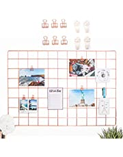 """AllTheCuteThings Rose Gold Wire Wall Grid with Rose Gold Metal Clips and 4 Hooks, Size 25.6""""x17.7"""", Multifunction Photo Hanging Display, Wall Decor, Metal Mesh Board, Memo Board"""