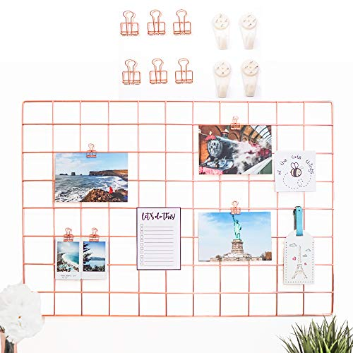 "AllTheCuteThings Rose Gold Wire Wall Grid with 6 Metal Clips and 4 Hooks, Size 25.6""x17.7"", Multifunction Photo Hanging Display, Wall Decor, Metal Mesh Board, Memo Board"
