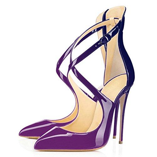 Ubeauty High Übergröße Cross Damen Schuhe Pumps Geschlossene Heels Zehen Klassische Spitze Violett-blau Strap