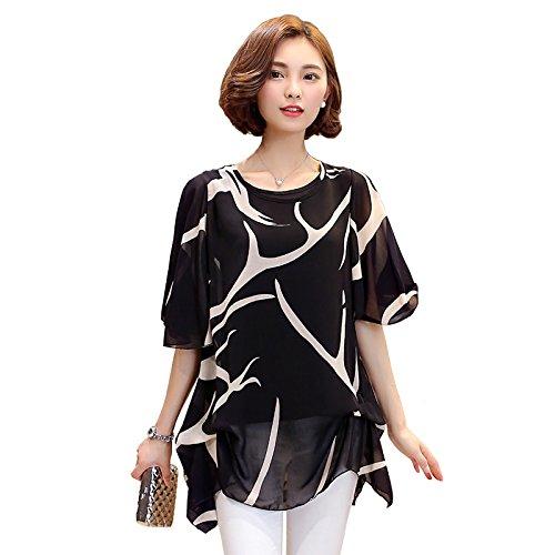太字パーティー石化する半袖 五分袖 レディース トップス シースルー きれいめ Tシャツ 黒 白 M L LL 3L 4L 5L 6L 大きいサイズ (M, 黒)