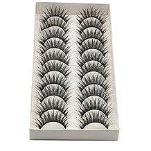 Becoler 10 Pairs Thick Long Cross False Eyelashes Makeup 3D Fake Thick Black Eye Lashes