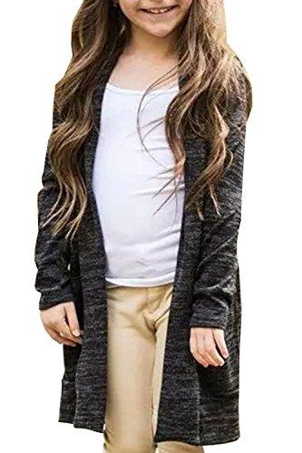 Girls Cardigan Open Front Fall Clothes Knit Long Sleeve Jersey Plain Outwear Black 8-9 T (Girls Long Cardigan)