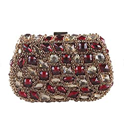 Large Colored Crystal Stone Studded Clutch