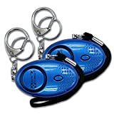 Xinyinuo 2 Pack Blue UV Coated Mini Loud Personal Staff Panic Rape Attack Safety Security keyring keychain Alarm with Torch 140DB (blue)