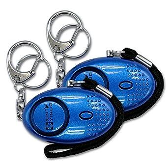 Xinyinuo 2 Pack Blue con recubrimiento UV mini fuerte ataque de pánico de violación de seguridad del personal de Seguridad antorcha llavero llavero ...