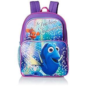 Disney Little Girls Dory Two Pocket 16 Inch Backpack, Purple, One Size