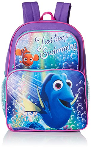 Disney Little Girls Dory Two Pocket 16 Inch Backpack, Purple, One Size