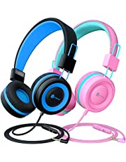 [2 Pack] iClever HS14 Kids Headphones with Microphone, Headphones for Kids with Safe Volume Limited 94dB, Adjustable Headband, Foldable Children Headphones for Boys/Girls/School/Travel/iPad, Black&Pink