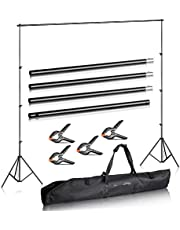 Duramex (TM) Photography 10' Wide x 7' FT High Background Stand with Bag for Backdrop Muslin Paper with Two Stands, Metal Crossbar in 4 Sections for Photo Video