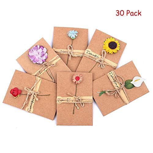 Vintage Kraft Handmade Dried Flowers Thank You Notes Birthday Party Invitation Card Greeting Wish Cards Set, 6 Designs with Envelopes, Pack of 30 (Small)