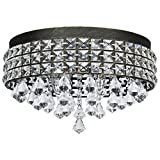 Cheap Kira Home Gemma 15″ Contemporary 4-Light Flush Mount Crystal Chandelier, Brushed Black Finish