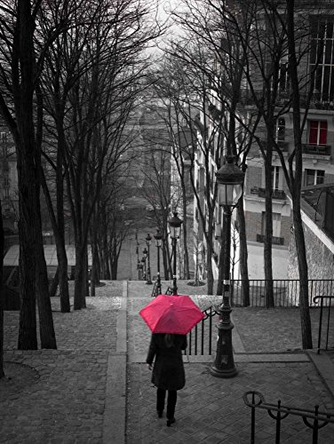 Assaf Frank - Woman with red umbrella standing on staircase in Montmartre, Paris, France by Assaf Frank - 24