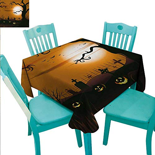 WilliamsDecor Halloween Easy Care Tablecloth Leafless Creepy Tree with Twiggy Branches at Night in Cemetery Graphic Drawing for Kitchen Dinning Tabletop Decoration 60
