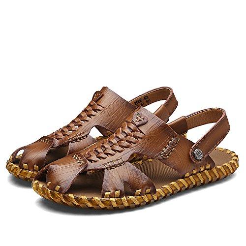 y Khaki playa de interior Sandalia ajustables de de cuero Zapatillas para respirable de pescador hombre de para exterior de Sandalias Sandalias deportes ocio cuero verano adecuadas para antideslizante hom fqwP1n
