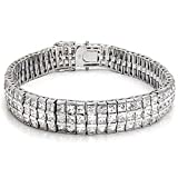 Mens Triple Row Tennis Bracelet White Clear Princess Cut Cz Sterling Silver (8.5)