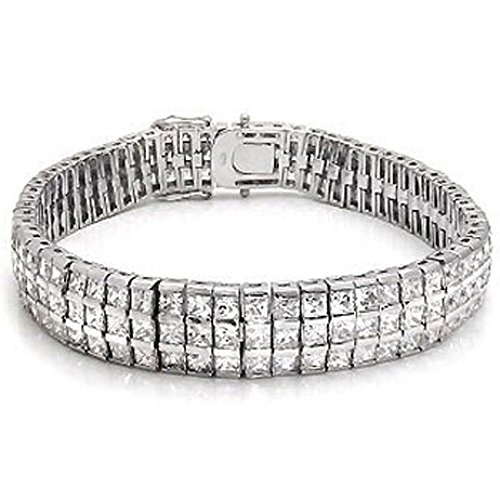 Mens Triple Row Tennis Bracelet White Clear Princess Cut Cz Sterling Silver (8.5) by The Ice Empire Jewelry
