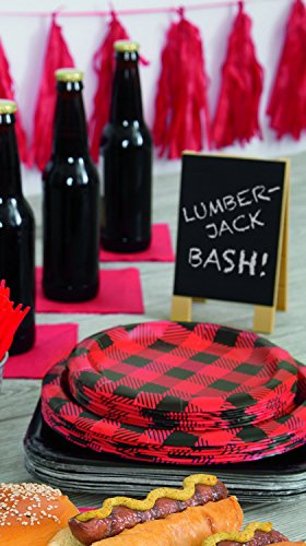 Unique Plaid Lumberjack Party Bundle | Luncheon & Beverage Napkins, Dinner Plates, Table Cover, Cups | Great for Country/Rustic Birthday Themed Parties by Unique (Image #2)