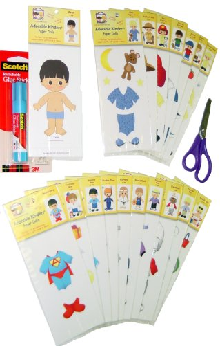 Adorable Kinders 20 Piece Ivan Paper Doll Set