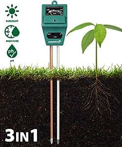 Fosmon Soil pH Tester - 3-in-1 Measure Soil pH Level, Moisture Content, Light Amount Soil Test Kit for Indoor Outdoor Plants, Flowers, Vegetable Gardens and Lawns