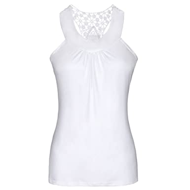 393ef66f1e99a Tiantianmei Women s Summer Crochet Lace Racerback Hollow Out Tank Top at  Amazon Women s Clothing store