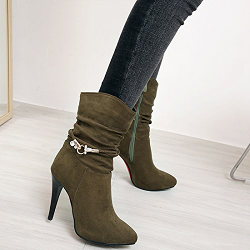 Ladies High Green Ankle Boots Heel Mid Slouch Calf Vitalo Boots Women's Zip Platform Army 485wSq